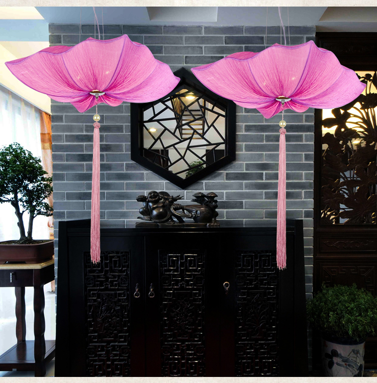 Chinese cloth style cloth art square lotus leaf pendant light creative teahouse Restaurant Hotel Southeast Asia retro lamp чиносы lyle