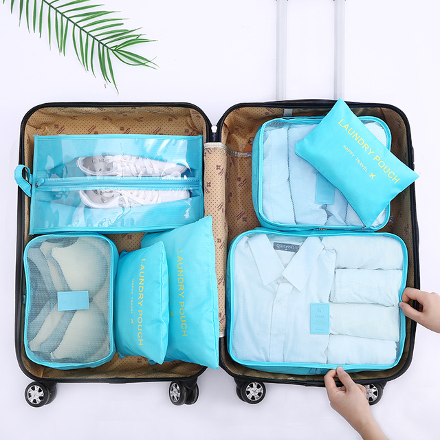 New Arrival Packing Cube Travel Bag 7 PCS/Set High Quality Oxford Cloth Travel Mesh Bag hand luggage Travel Bag Free shipping