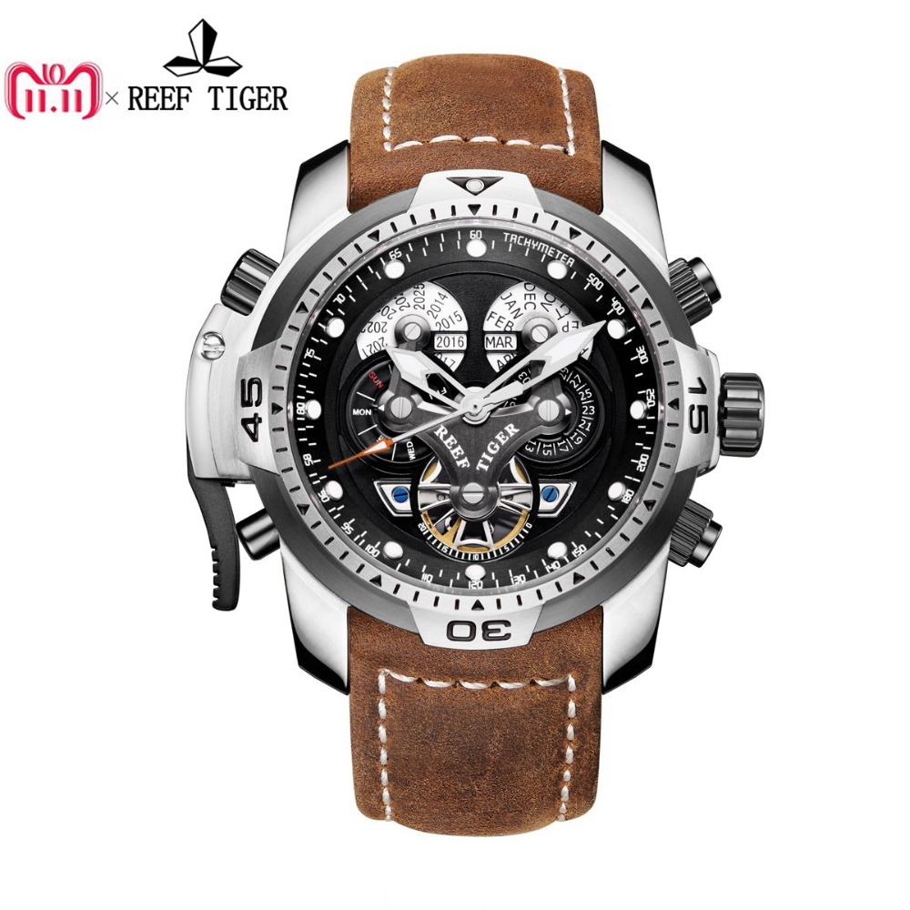 Reef Tiger/RT Sport Watch with Perpetual Calendar Date Day Steel Case Brown Leather Strap Mechanical Men's Watches RGA3503 вьетнамки reef day prints palm real teal
