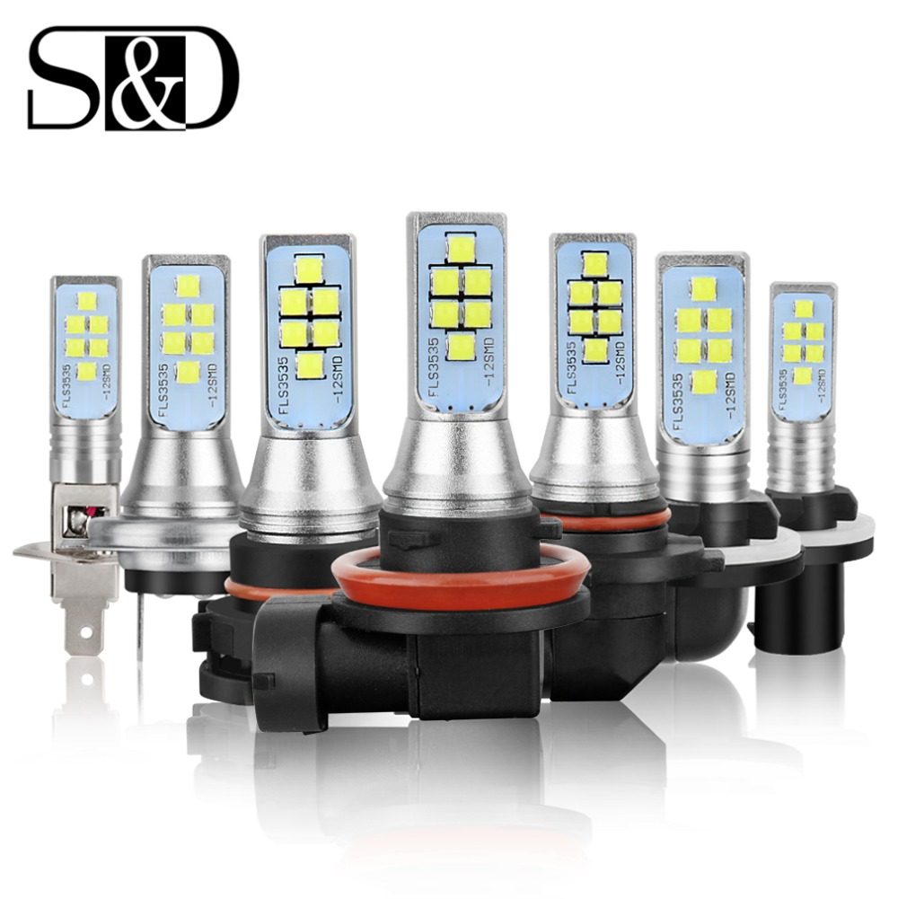 2 piezas de coche lámpara de niebla H1 H3 H7 H8 H11 H16 LED HB3 9005 HB4 9006 P13W PSX26W PSX24W LED bombillas H27 800 881 P27/7 W Auto luces 12 V