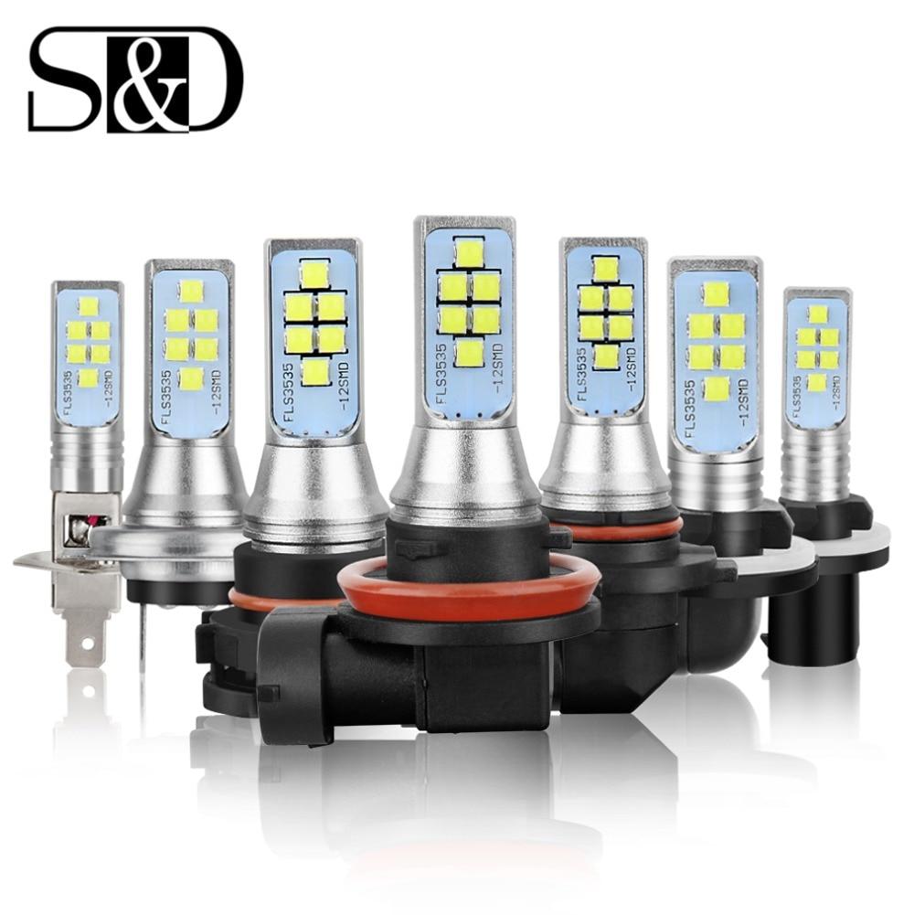 2pcs Car Fog Lamp H1 H3 H7 H8 H11 H16 LED HB3 9005 HB4 9006 P13W PSX26W PSX24W LED Bulbs H27 800 881 P27/7W Auto DRL Lights 12V