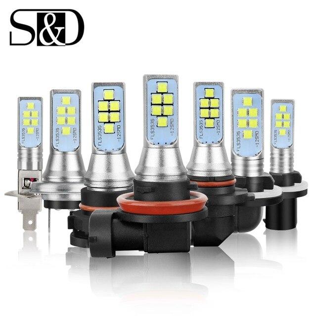 2pcs Car Fog Lamp H1 H3 H7 H8 H11 H16 LED HB3 9005 HB4 9006 P13W PSX26W PSX24W LED Bulbs H27 800 881 P27/7W Auto Lights 12V