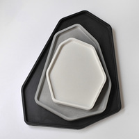 Rectangle Silicone Molds Cement Plate Moulds Candle Holder Concrete Molds Handmade Tray Molds DIY Cement Fruit