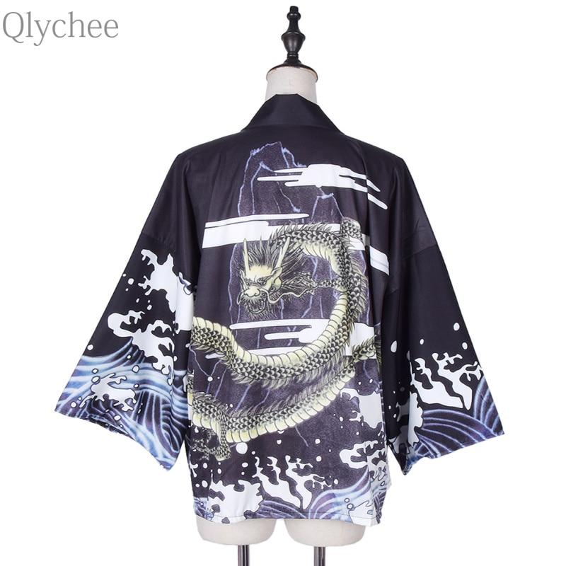 Qlychee Vintage ljeto vrhovima Dragon ispisuje Harajuku Kimono Soft - Ženska odjeća - Foto 2