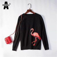 Achiewell 2017 New Fashion Women Sweaters O neck Knitted Pullovers Full Sleeve Blouse Shirts Female Tops Flamingo Embroidery