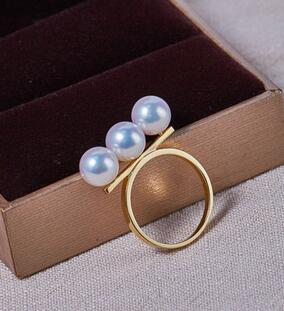 Bijoux de mariage AAA + + 7-7.5mm Réel naturel Akoya blanc perle ronde Anneau 18 kgold - 4