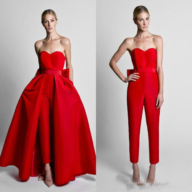 2019 Modest Red Jumpsuits Evening Dresses With Detachable Skirt Sweetheart Satin Guest Dress Prom Celebrity Party Gowns