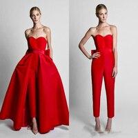 2019 скромный красный комбинезоны для женщин вечерние платья со съемной юбкой Милая атласная платье гостей выпускного вечера знаменитости