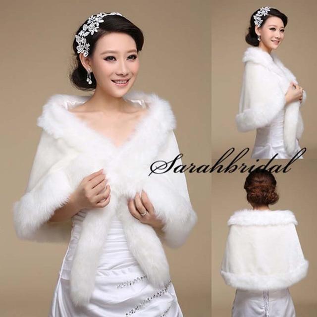 Caliente nueva Faux Fur blanco envolturas elegantes de la boda ...