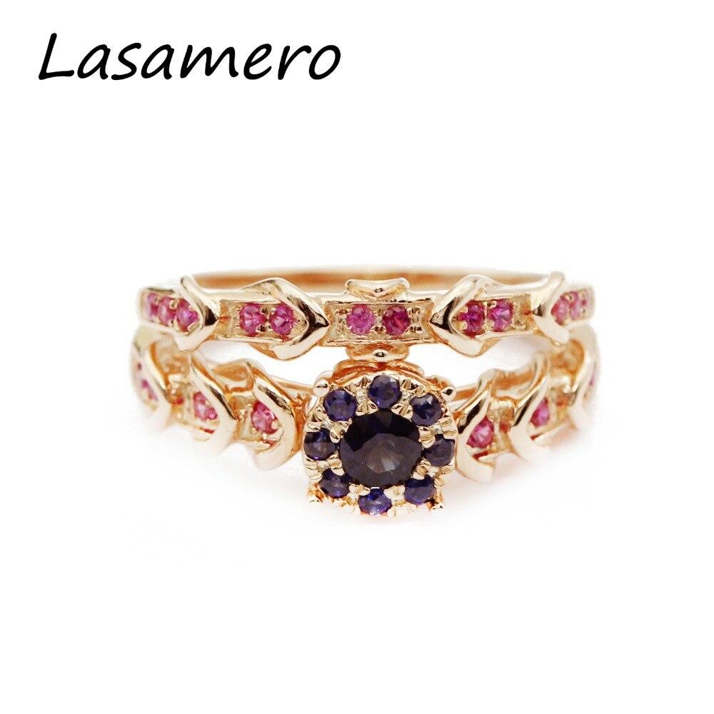 LASAMERO Rings for Women 0.19CT Round Cut Natural Aquamarine Rings 925 Silver Engagement Wedding Rings