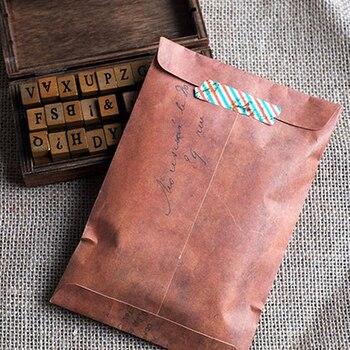 5 Pcs/Set Retro Style Brown Kraft Paper Envelope Postcard Invitation Letter Stationery Paper Bag Vintage Air Mail Gift Envelope Paper Envelopes