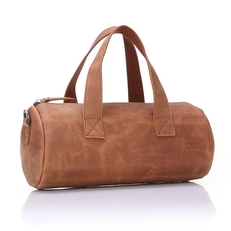 2017 NEW genuine leather men bag Vintage crazy horse leather Barrel-shaped shoulder messenger bags Fashion small cylinder bag 38mm cylinder barrel piston kit