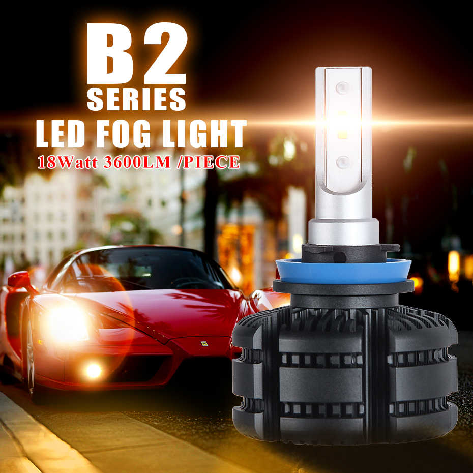 CNSUNNYLIGHT High Brightness B2 Canbus LED H11 H8 Car Fog Bulbs 9005 9006 3600Lm White 3000K Yellow H16 Auto DRL Foglamp Light