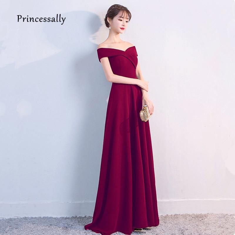 Vestiti Da Sera Eleganti.Nuovo Vestito Da Sera Elegante Robe De Soiree A Line Vino Rosso
