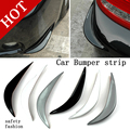 2Pcs/lot Black white gray  Soft Plastic Decorative Trim Car Bumper Guard Front or Back Stickers Protector 3D Streamline