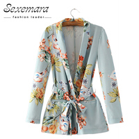 Autumn Women Floral Vintage Blazers 2017 Suit Ladies Notched Collar Outwear Female Jackets Casual Sashes Long