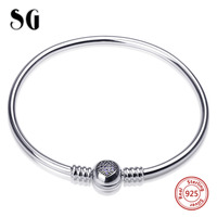 MANBU Pink Zircon Heart Bead Silver Bangle Authentic 100 925 Sterling Silver Snake Chain Bangle Bracelet