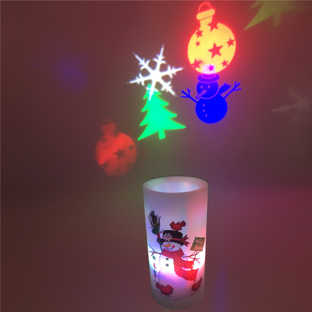LED Candle Projector Light  Christmas Halloween Disco Image Projection Lamp Decorations For Xmas Home  Birthday New Year Party