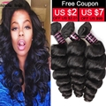 8A Malaysian Virgin Hair Loose Wave Malaysian Loose Wave Virgin Hair 3 Bundle Deal Human Hair Loose Curly Malaysian Hair Bundles