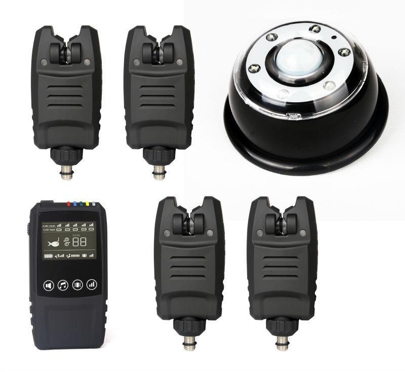 Imperméable à l'eau Sans Fil Numérique Carpe De Pêche Bite Alarm Set 4 Morsure Alarmes + 1 tactile choc Récepteur + 1 Lampe lignt récepteur en cas