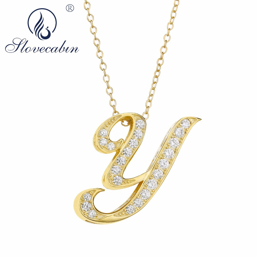 Slovecabin 925 Sterling Silver Gold Color 2018 New Long Chain Japan Letter Y N Pendant Necklace Zircon Men Necklace Jewelry