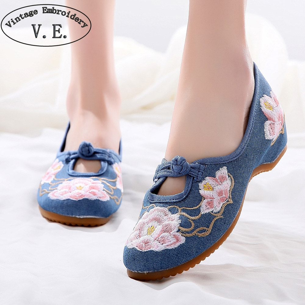 Vintage Embroidery Chinese National Women Flats Denim Canvas Casual Low Heel Shoes Middle Aged Ladies Soft Comfort Ballet Flats