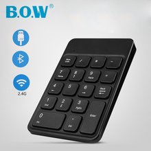 B.O.W Portable Slim Small Numeric Keyboard , 18 Keys USB Bluetooth Wireless mini Numeric Keypad for Laptop Desktop PC Notebook