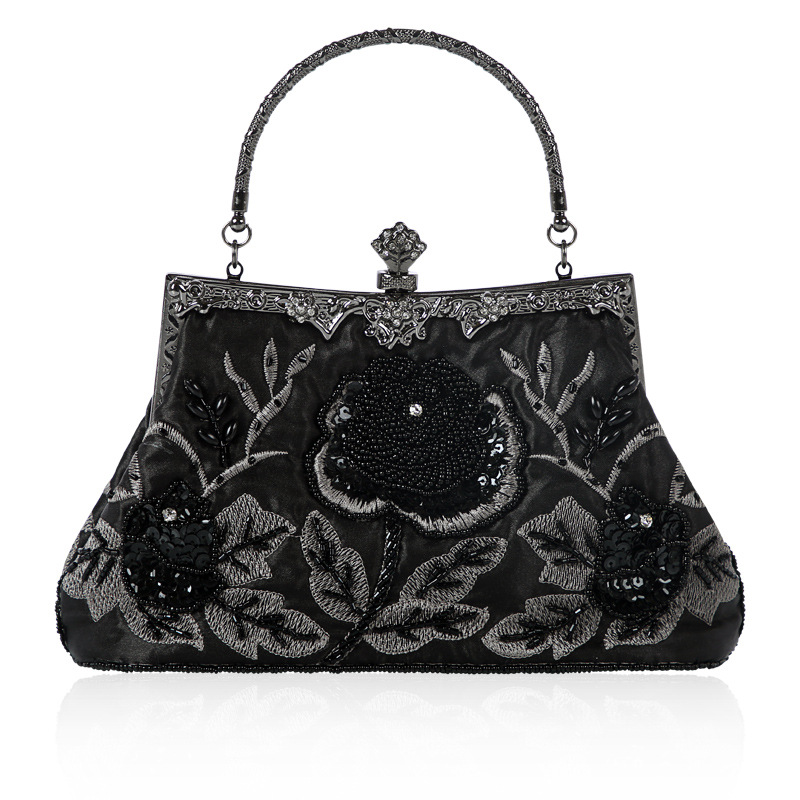 Women Vintage Handmade Beading Evening Bags with Flower Design Black/Green/Champagne Floral Handbag for Brides/Party/Dinner