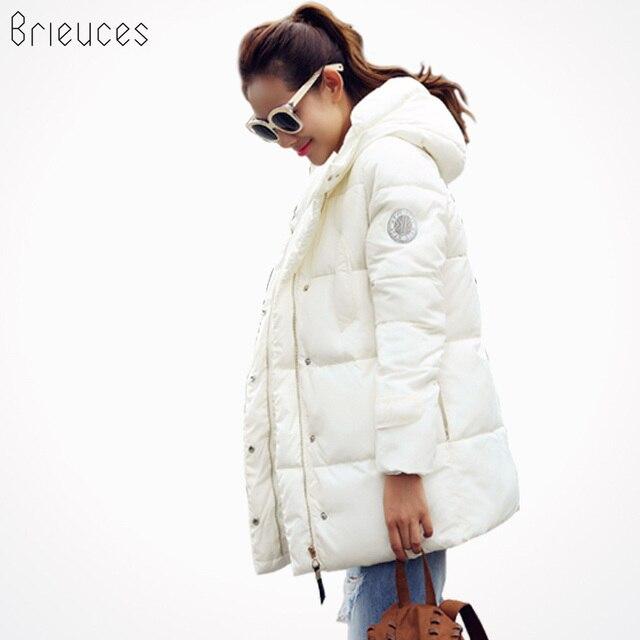 Brieuces 2017 waddedแจ็คเก็ตหญิงแจ็คเก็ตฤดูหนาวใหม่ผู้หญิงลงแจ็คเก็ตผ้าฝ้ายบางparkasสุภาพสตรีเสื้อหนาวขนาดบวกS-XXXL