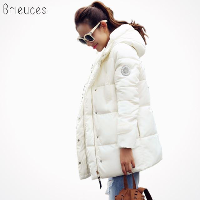 Brieuces 2017 стеганая куртка женская новая зимняя куртка женские вниз хлопчатобумажная куртка Тонкий парок дамы зимнее пальто большие размеры S-XXXL