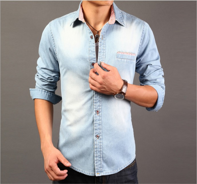 3dfc10fd292 New Fashion design slim fit long sleeve Casual Dress denim Mens ...
