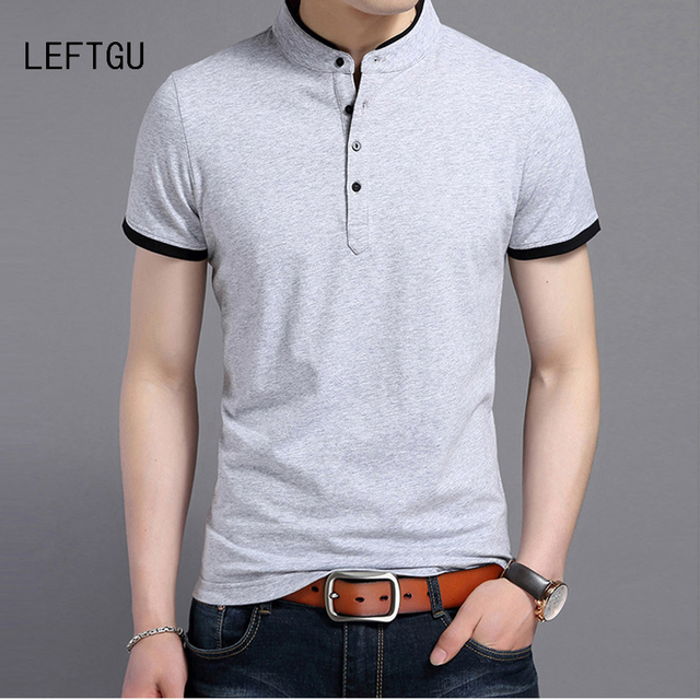 60041b932fd7c Men's Polo Shirt Summer Short Sleeve Slim fit smart casual polo shirt 98%  cotton Top Tees tee shirt homme white black gray