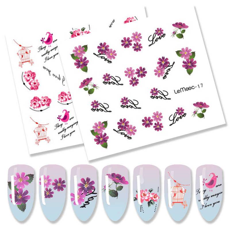 LEMOOC fleur conçoit 1 feuille d'eau décalcomanie ongles transfert autocollant Nail Art décoration pour manucure filigrane