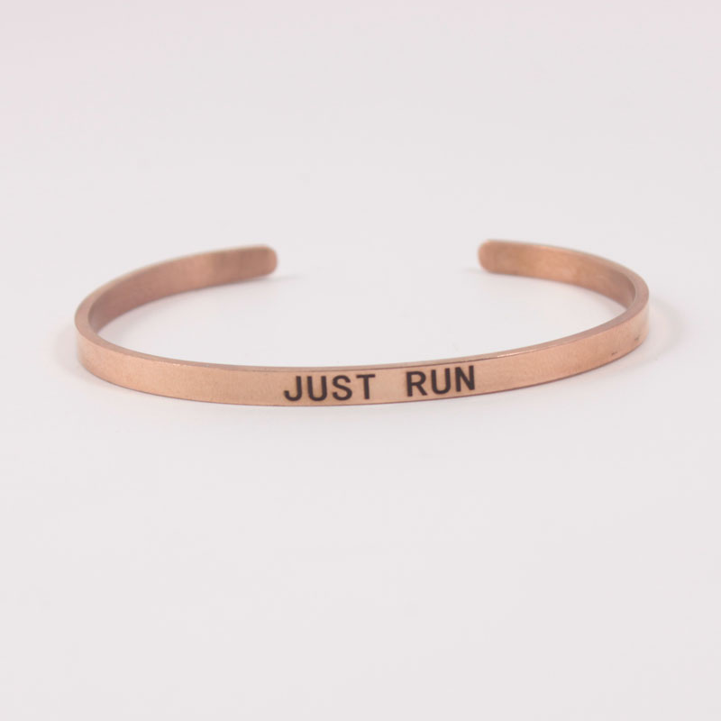 Rose gold  4MMJUST RUN Stainless Steel Engraved Positive Inspirational Quote Cuff Mantra Bracelet Bangle