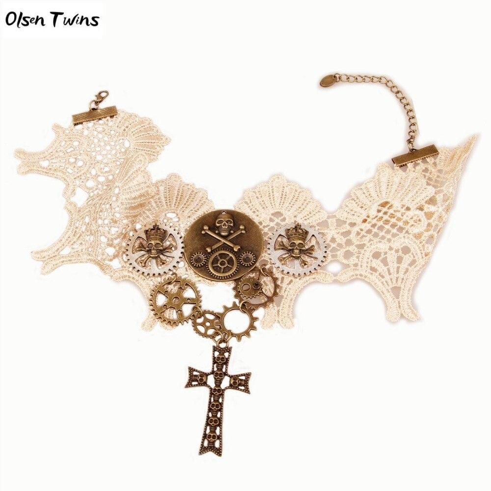 Jumelles Olsen Steampunk Gothique Crâne Squelette Croix Colliers En Dentelle Colliers pour Dropshipping Gros