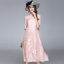 Chinese Style Silk Organza Dress Stand Collar half sleeve Floral embroidery Dress Top Quality long dress Free shipping