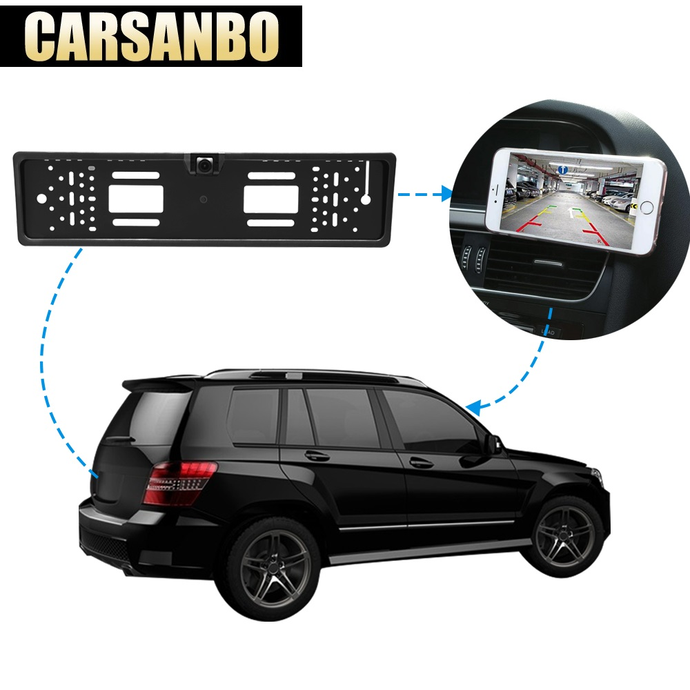 EU European HD License Plate Frame Car Rear View Wireless Wifi Camera Waterproof Night Vision Reverse