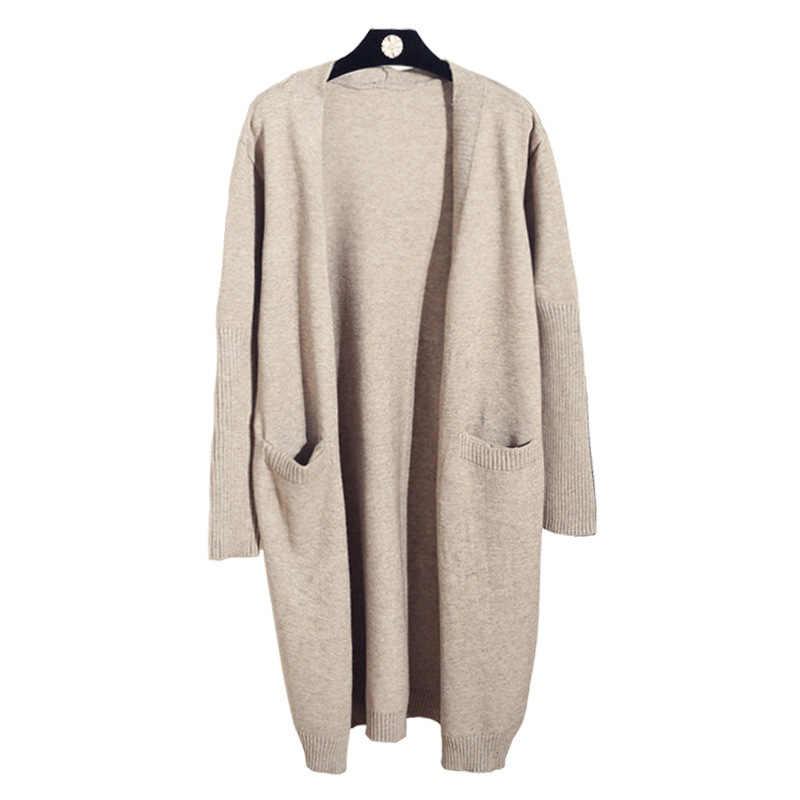 Nữ trung và Dài-phong cách lỏng lẻo phiên bản Hàn Quốc Xuân Thu Áo len tay dài và dệt kim Cardigan