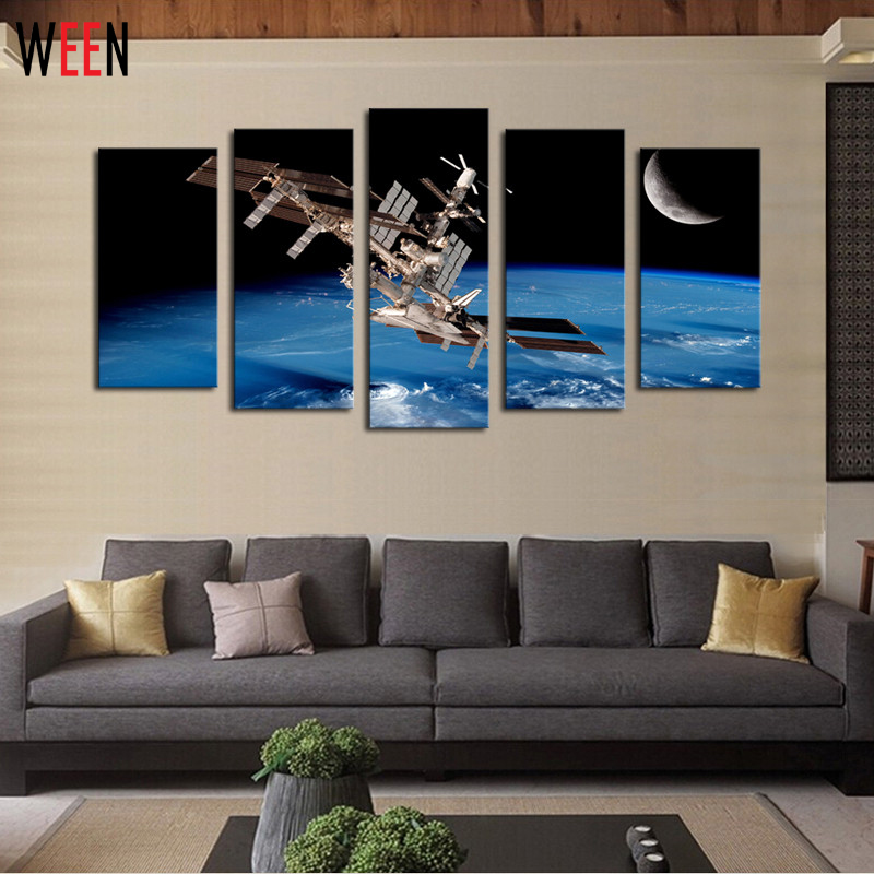 5 panels outer space satellites scenery picture print for Outer space home decor