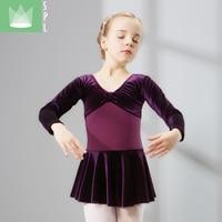 Girls Ballet Velvet Dance Costume Kids Ballet Dresses Gymnastics Dance Tutu Leotard Girl Velvet Dancewear B