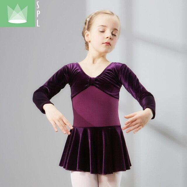 28bc2c8612a2 Girls Ballet Velvet Dance Costume Kids Ballet Dresses Gymnastics ...