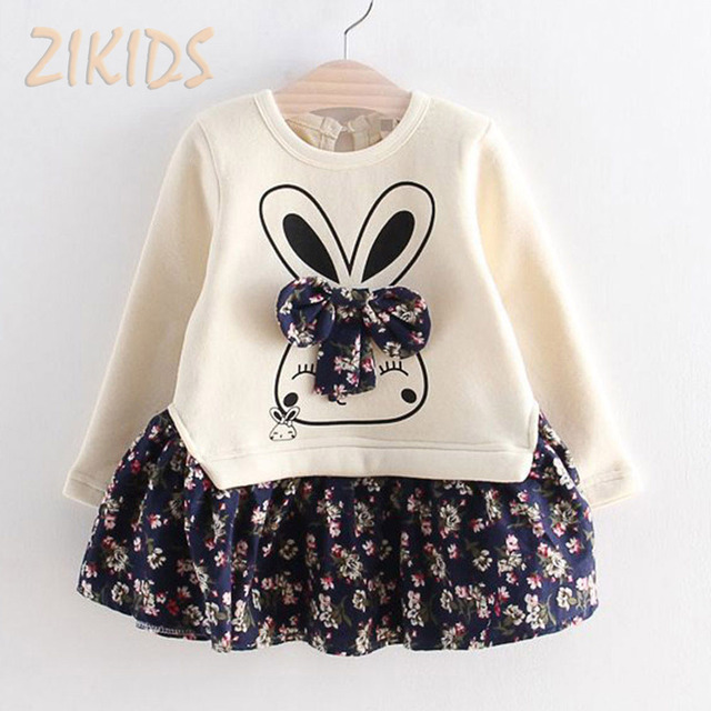 Autumn Cartoon Cute Bunny Rabbit Dress Floral Bow Long Sleeve Girl Dresses Cotton Patchwork Girls Clothing Kids Clothes 2016