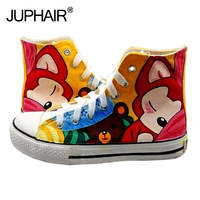 JUP Shoes Womans Boys Girl Summer Autumn Casual Breathable Canvas Hand Painted Shoes Super Mario Flag