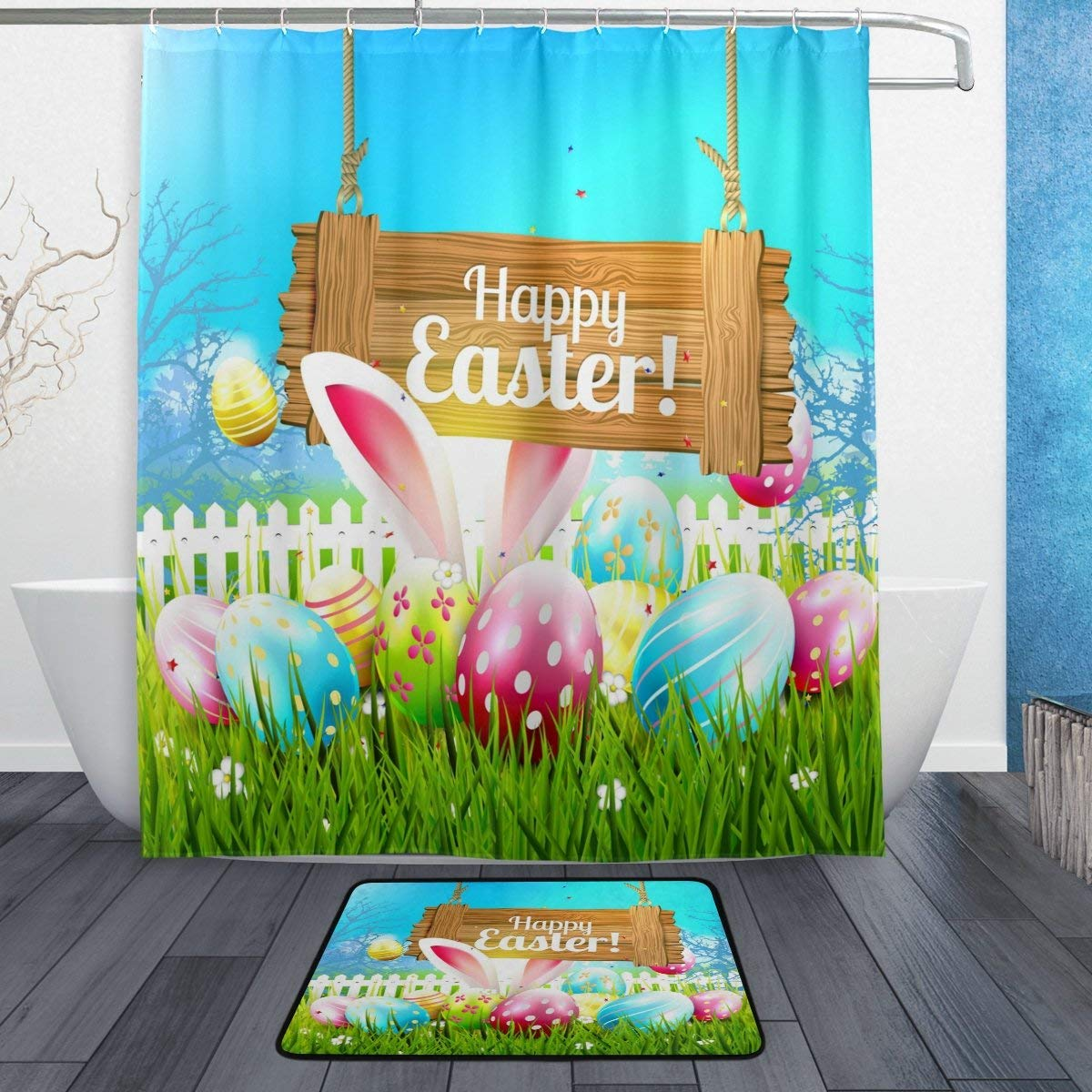 Happy Easter Colorful Eggs Bunny Shower Curtain And Rug