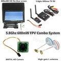 Combo Sistema FPV 5.8 Ghz 600 mw Transmissor Receptor No azul 800x480 Monitor de suporte sombrinha QAV250 DJI Fantasma zangão