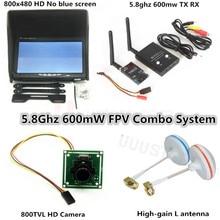 FPV Combo Sistemi 5.8 Ghz 600 mw Verici Alıcı Hiçbir mavi 800×480 Monitör güneşlik tutucu DJI Phantom QAV250 Drone