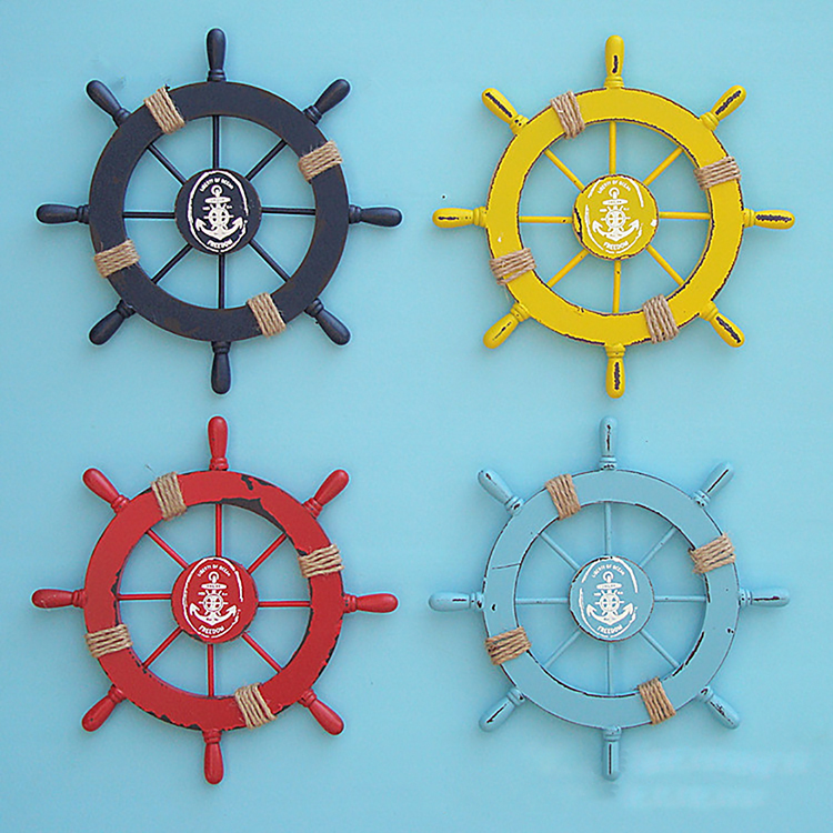 Hangings Nautical Wood Boat Ship Steering Wheel Marine Beach Home Wall Decor Multi Colors Crafts