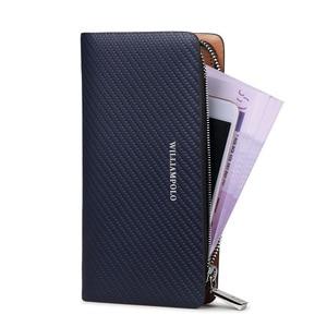 Image 2 - Горячий! Мужской Длинный кошелек из 100% кожи simampolo, длинный трикотажный кошелек с узором, роскошный брендовый кошелек PL118