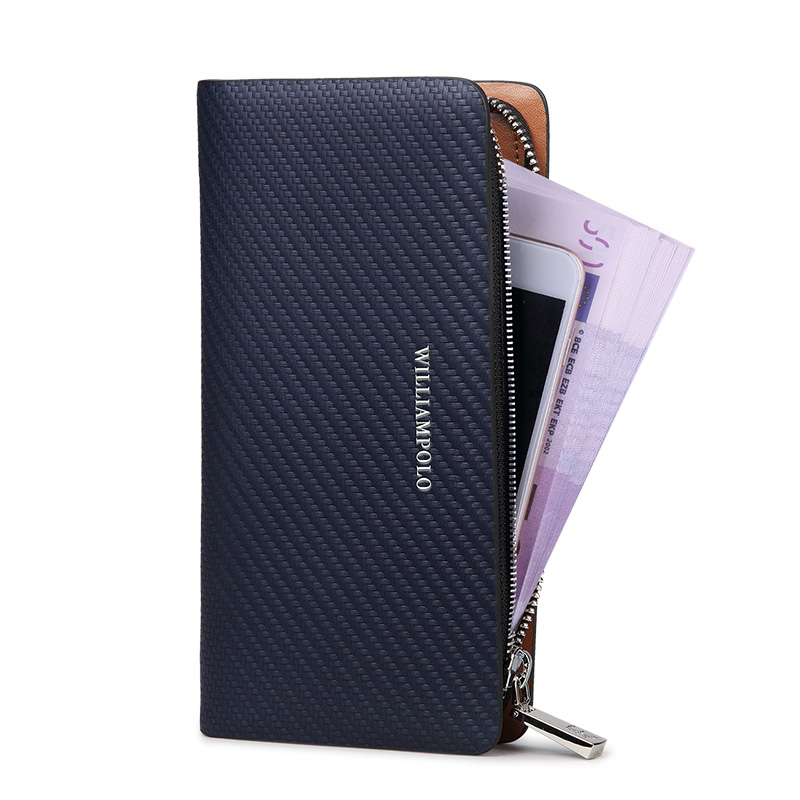 HOT!!! WILLIAMPOLO Original Brand 100% Leather Wallet Men  Long Knitting Pattern Wallet Men Luxury Brand Wallets PL118-in Wallets from Luggage & Bags    2