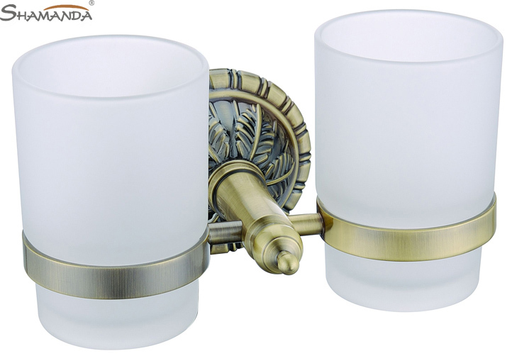 ФОТО Free shipping European Luxurious Antique Bronze Double Cup holder,Toothbrush Holder,Glass cup holder-bathroom accessories-62004